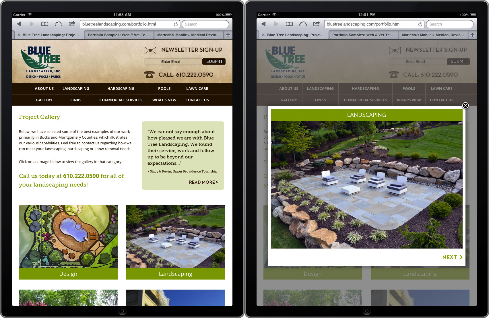 Eric M Harris Portfolio: Blue Tree Landscaping website screenshots